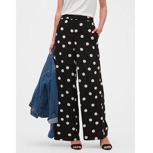 BANANA REPUBLIC Polka Dot  Wide Leg Black  Pants